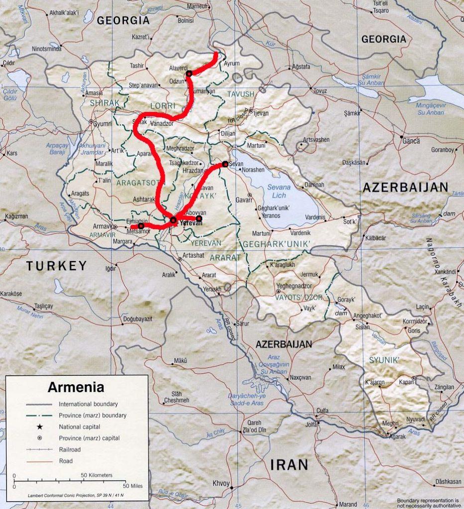 Armenia travel map