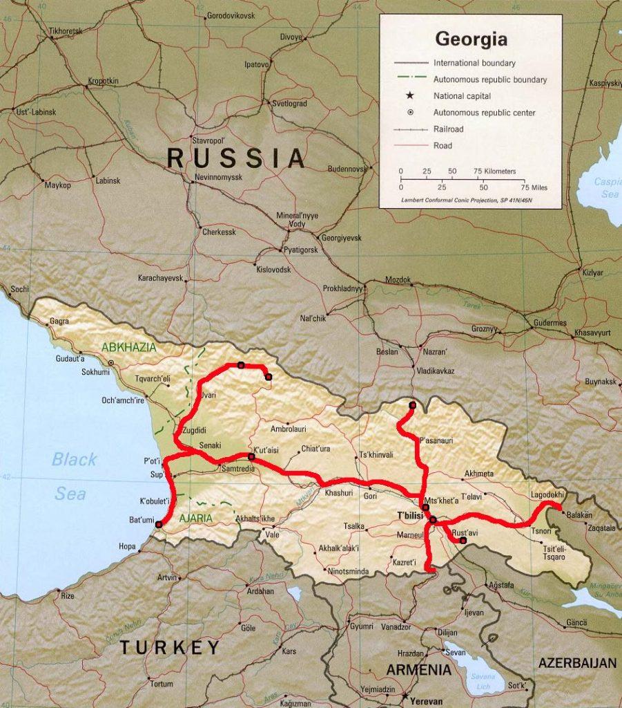 Georgia travel map